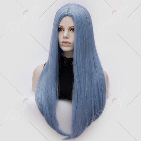 Sale Long Middle Part Tail Adduction Straight Cosplay Anime Wig - WINDSOR BLUE  Mobile
