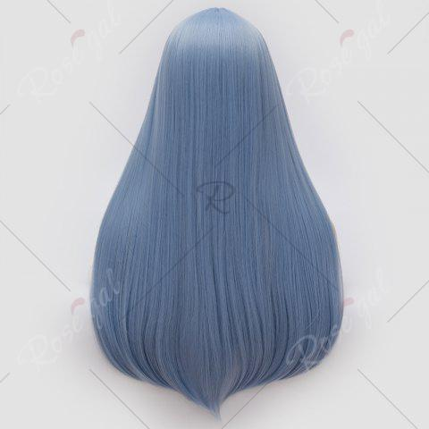 Online Long Middle Part Tail Adduction Straight Cosplay Anime Wig - WINDSOR BLUE  Mobile