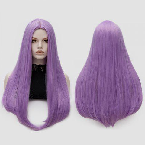 Longue partie moyenne Partie Adduction Straight Cosplay Anime Wig Pourpre Rosé