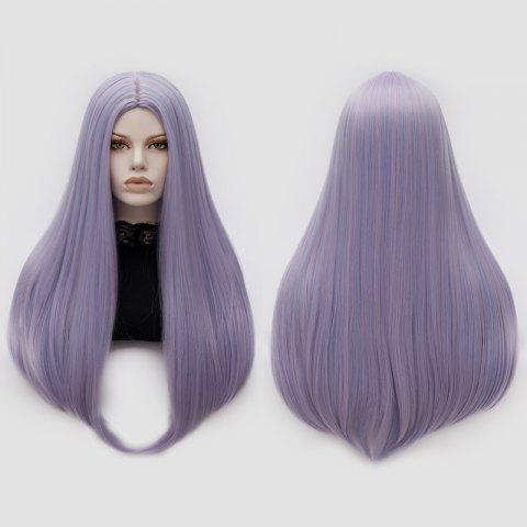 Long Middle Part Tail Adduction Straight Cosplay Anime Wig - Pinkish Blue