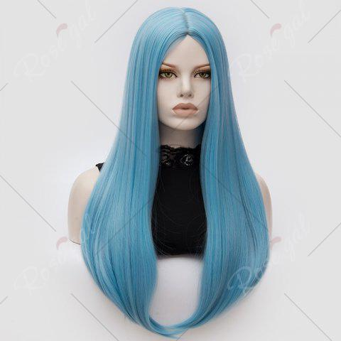 Online Long Middle Part Tail Adduction Straight Cosplay Anime Wig - CLOUDY  Mobile