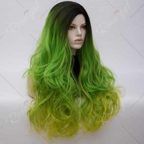 Fancy Long Middle Part Colormix Shaggy Layered Wavy Cosplay Anime Wig - SHAMROCK  Mobile