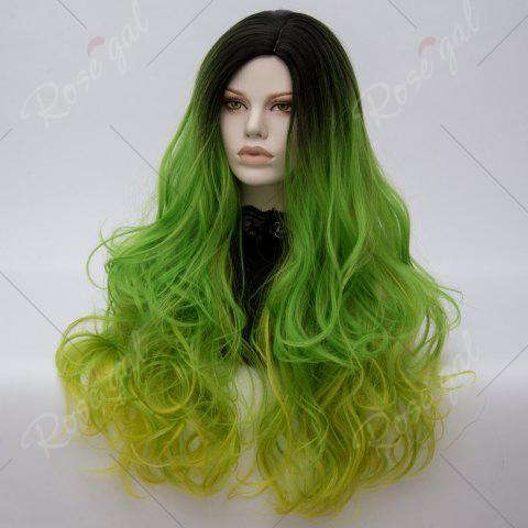 Fashion Long Middle Part Colormix Shaggy Layered Wavy Cosplay Anime Wig - SHAMROCK  Mobile