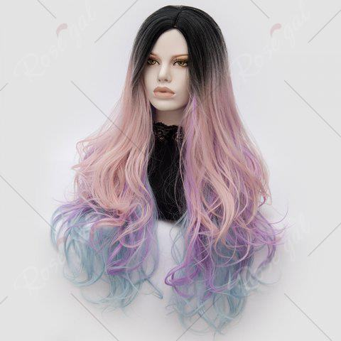 Sale Long Middle Part Colormix Shaggy Layered Wavy Cosplay Anime Wig - PINK AND PURPLE  Mobile