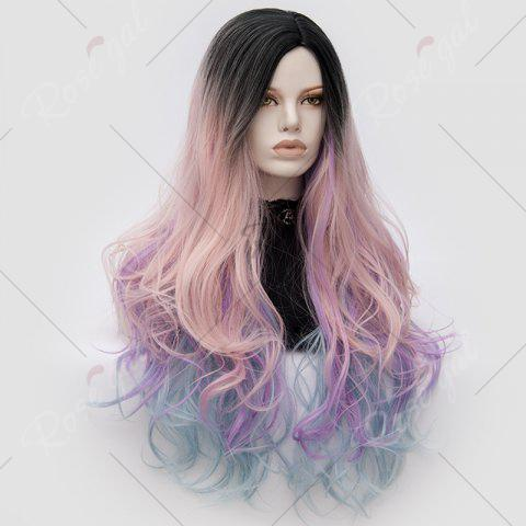 Shops Long Middle Part Colormix Shaggy Layered Wavy Cosplay Anime Wig - PINK AND PURPLE  Mobile