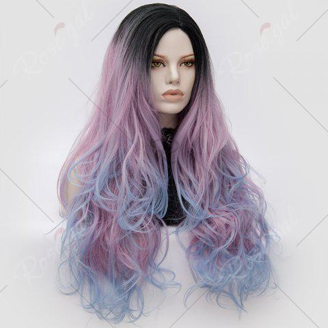 Outfits Long Middle Part Colormix Shaggy Layered Wavy Cosplay Anime Wig - PINKISH BLUE  Mobile