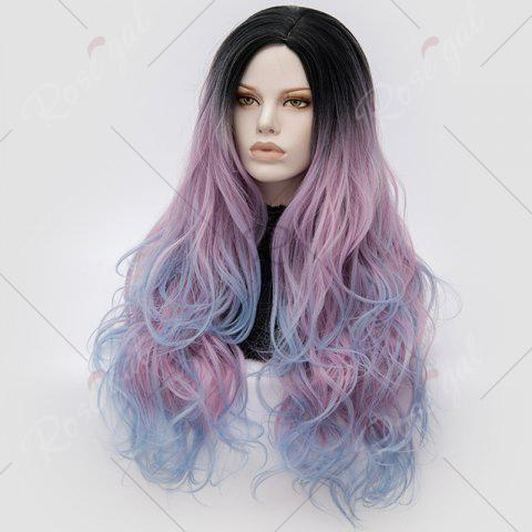 Hot Long Middle Part Colormix Shaggy Layered Wavy Cosplay Anime Wig - PINKISH BLUE  Mobile