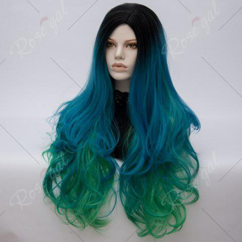 Fashion Long Middle Part Colormix Shaggy Layered Wavy Cosplay Anime Wig - BLACK AND GREEN  Mobile