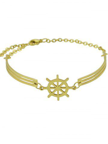 Unique Boat Helm Embellished Charm Bracelet - GOLDEN  Mobile