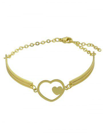 Cheap Hollow Double Heart Embellished Alloy Bracelet - GOLDEN  Mobile