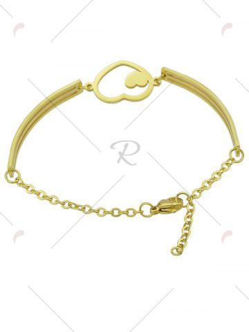 Outfit Hollow Double Heart Embellished Alloy Bracelet - GOLDEN  Mobile