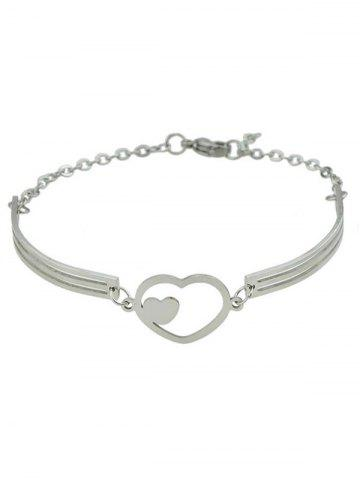 Outfit Hollow Double Heart Embellished Alloy Bracelet SILVER