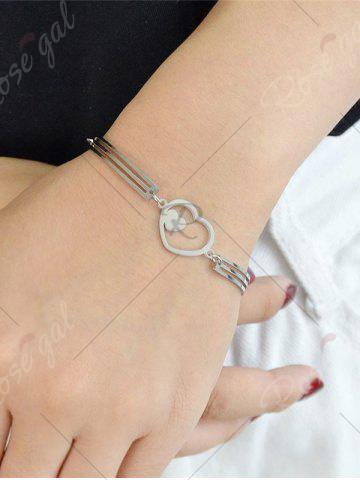 Chic Hollow Double Heart Embellished Alloy Bracelet - SILVER  Mobile