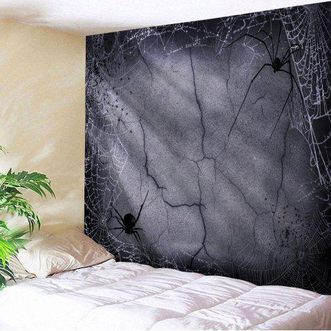 Halloween Spider Web Print Tapestry Wall Hanging Art Decoration - Gray - W91 Inch * L71 Inch