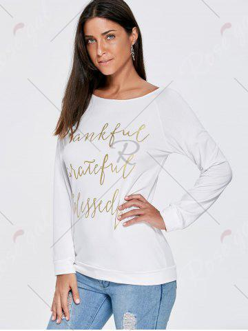 Affordable Boat Neck Funny Top - M WHITE Mobile