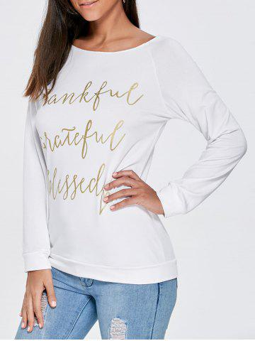 Discount Boat Neck Funny Top - M WHITE Mobile