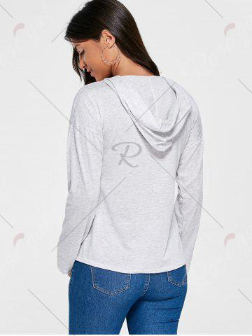 Fashion Drop Shoulder Heather Lace Up Hoodie - M LIGHT GRAY Mobile