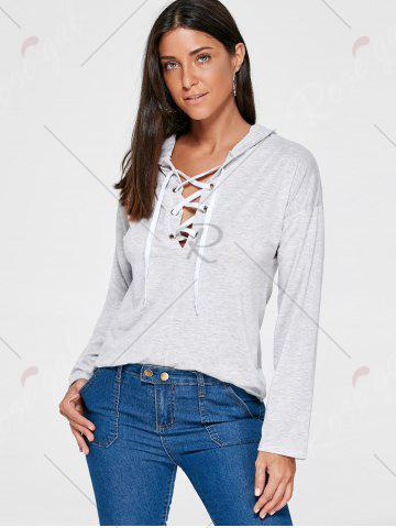 Latest Drop Shoulder Heather Lace Up Hoodie - M LIGHT GRAY Mobile