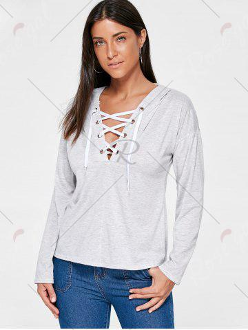 Buy Drop Shoulder Heather Lace Up Hoodie - L LIGHT GRAY Mobile