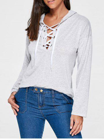 Online Drop Shoulder Heather Lace Up Hoodie - L LIGHT GRAY Mobile