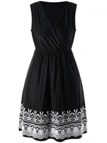 Plus Size Crochet High Waist Wrap Dress - Black - Xl
