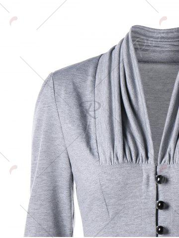 Latest Single Breasted Ruched Layered Slim Top - M LIGHT GREY Mobile