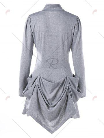Sale Single Breasted Ruched Layered Slim Top - M LIGHT GREY Mobile