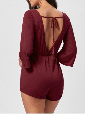 Shop V Neck Tassel Open Back Romper - L WINE RED Mobile