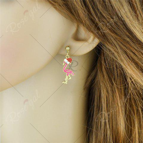 Outfit Ball Christmas Hat Bird Drop Earrings - PINK  Mobile