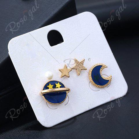 Discount 5 Pieces Star Moon Sun Earrings - GOLDEN  Mobile