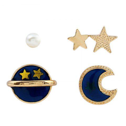 Chic 5 Pieces Star Moon Sun Earrings - GOLDEN  Mobile