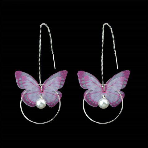 Fashion Faux Pearl Butterfly Circle Chain Earrings - PINK  Mobile