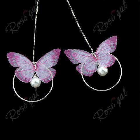 Chic Faux Pearl Butterfly Circle Chain Earrings - PINK  Mobile