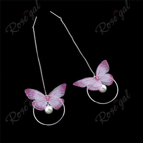 Cheap Faux Pearl Butterfly Circle Chain Earrings - PINK  Mobile