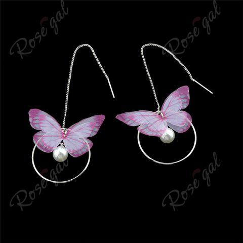 Affordable Faux Pearl Butterfly Circle Chain Earrings - PINK  Mobile