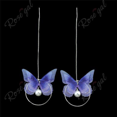 Trendy Faux Pearl Butterfly Circle Chain Earrings - BLUE  Mobile