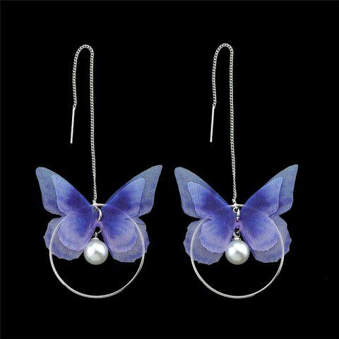 Affordable Faux Pearl Butterfly Circle Chain Earrings