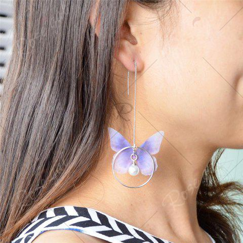 Chic Faux Pearl Butterfly Circle Chain Earrings - BLUE  Mobile
