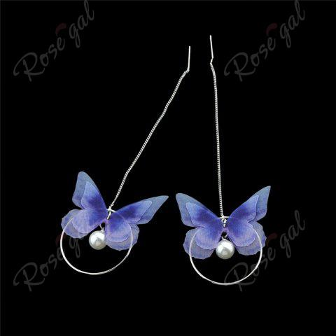 Shop Faux Pearl Butterfly Circle Chain Earrings - BLUE  Mobile
