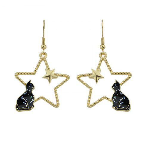 Trendy Cute Tiny Cat Star Hook Earrings BLACK