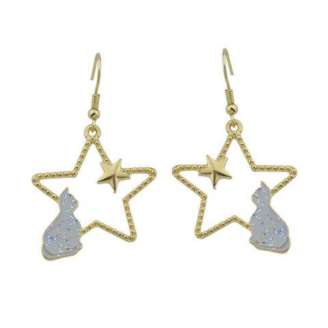 Affordable Cute Tiny Cat Star Hook Earrings GRAY