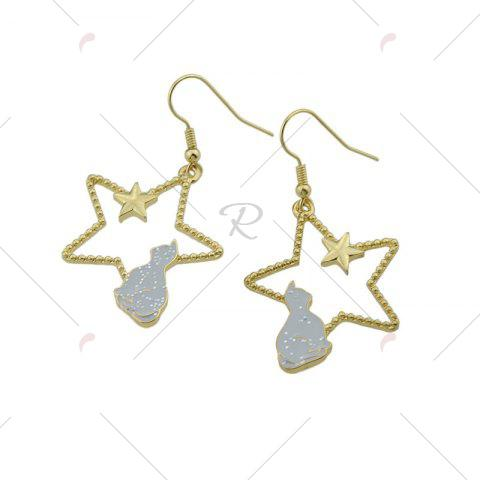 New Cute Tiny Cat Star Hook Earrings - GRAY  Mobile