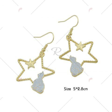 Store Cute Tiny Cat Star Hook Earrings - GRAY  Mobile
