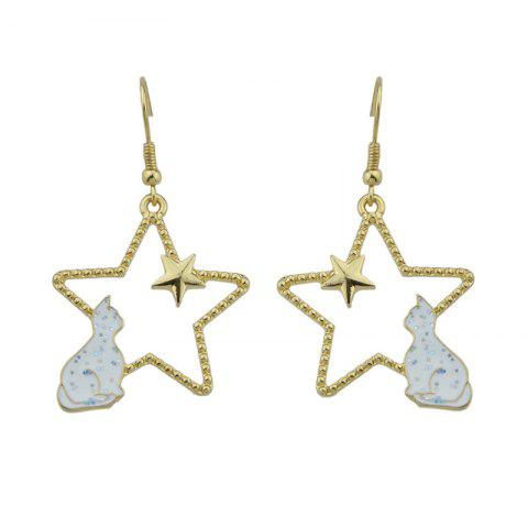 Store Cute Tiny Cat Star Hook Earrings - WHITE  Mobile