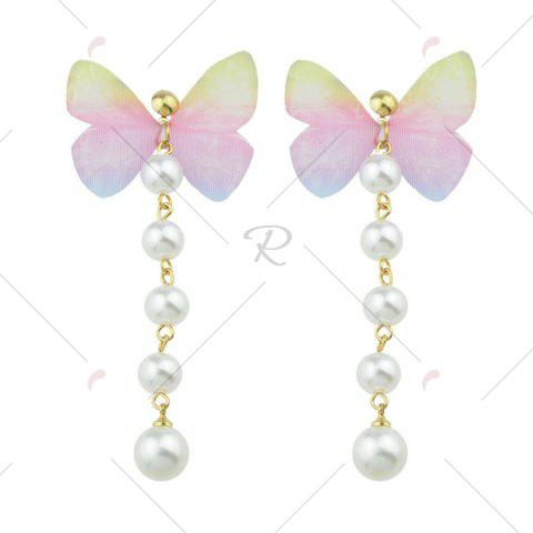 Outfits Artificial Pearl Butterfly Drop Earrings - PINK  Mobile