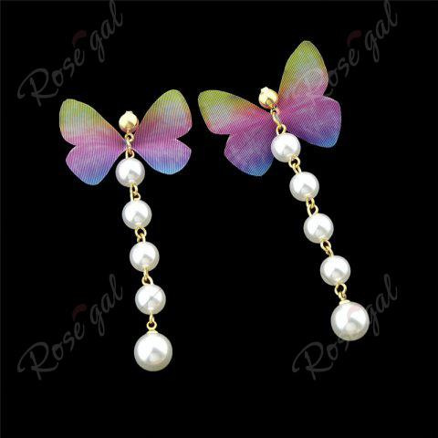 New Artificial Pearl Butterfly Drop Earrings - PINK  Mobile