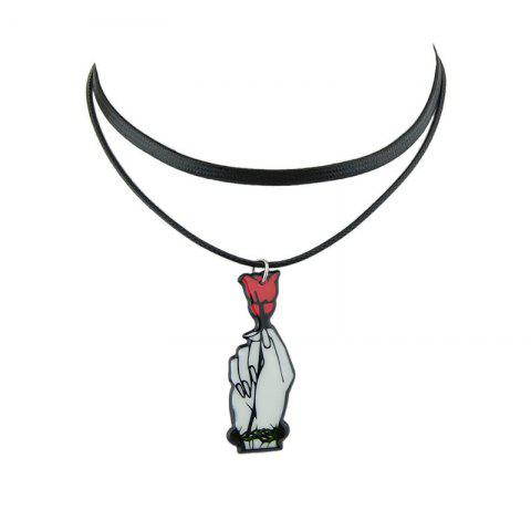 New PU Leather Rose Flower Choker Necklace - BLACK  Mobile