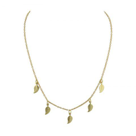 Buy Alloy Leaf Chain Charm Necklace - GOLDEN  Mobile