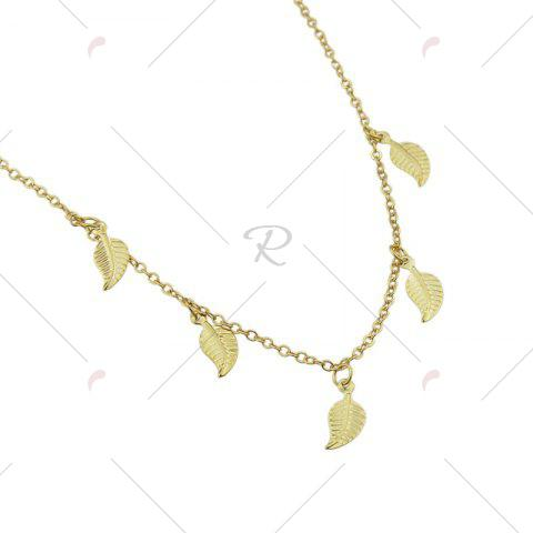 Discount Alloy Leaf Chain Charm Necklace - GOLDEN  Mobile