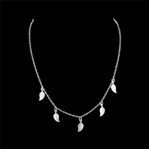 Unique Alloy Leaf Chain Charm Necklace - SILVER  Mobile